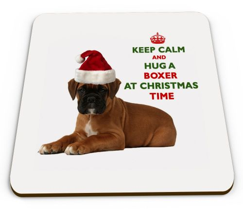 Christmas Keep Calm And Hug A Boxer Novelty Glossy Mug Coaster